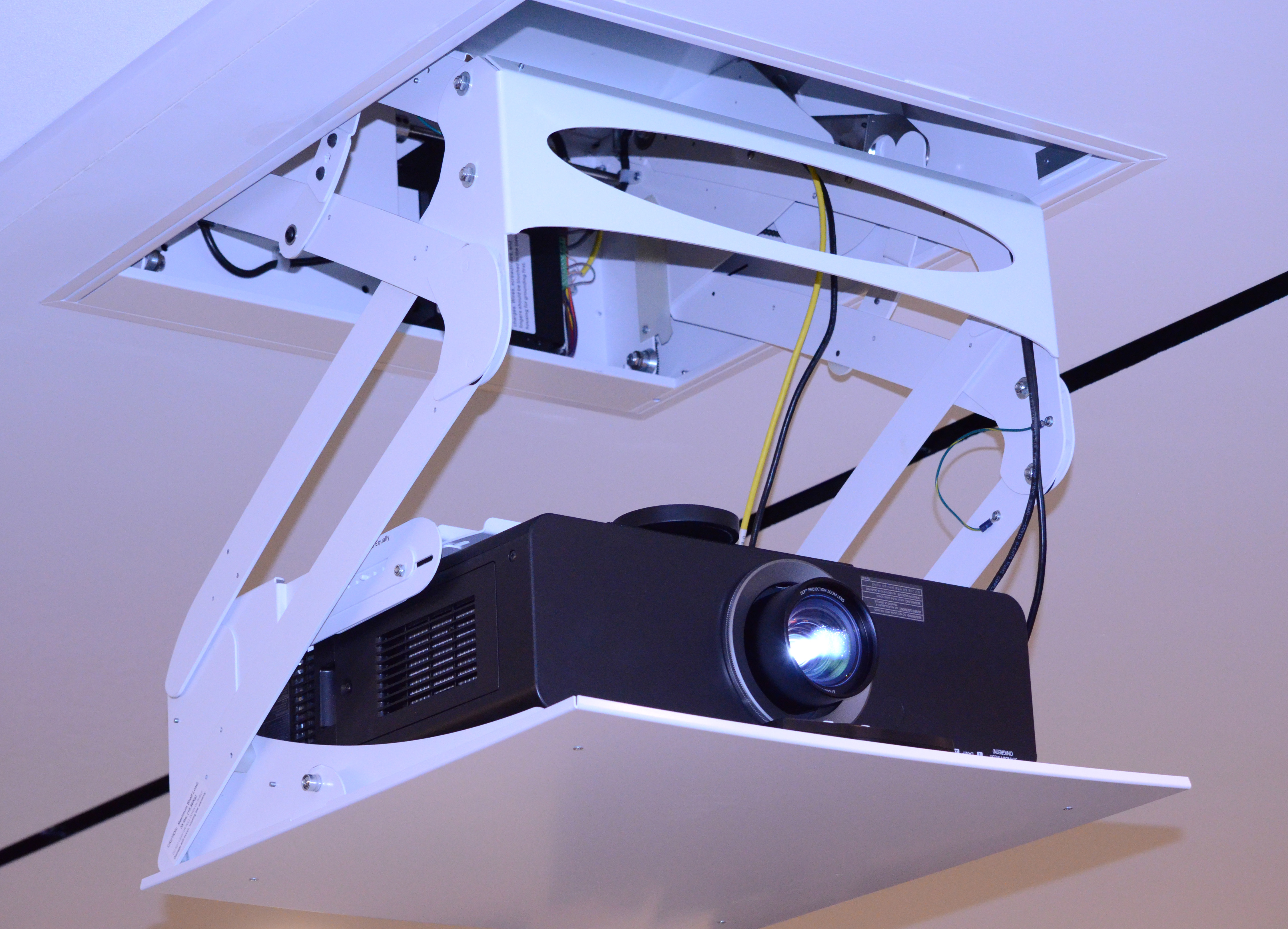 Fully integrated presentation equipment wired under the floor and above the ceiling eliminates loose wires on the floor.